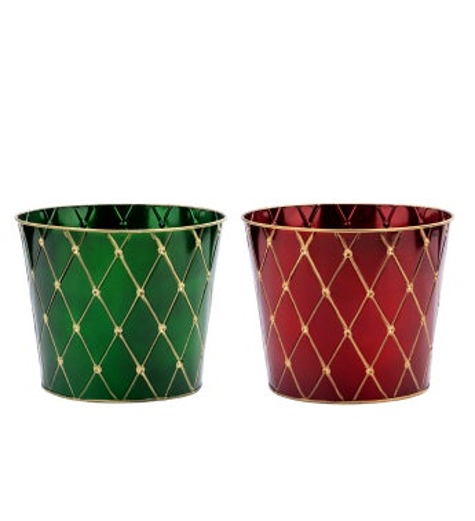 "8.5"" Red/Green Pot Cover, 2 Assorte"