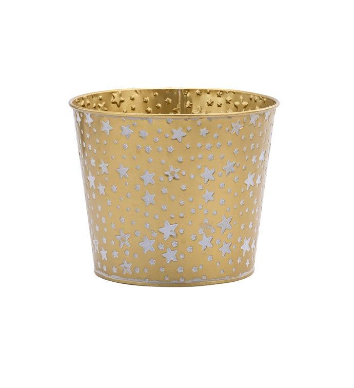 "6.5"" Gold/White Star Pot Cover"