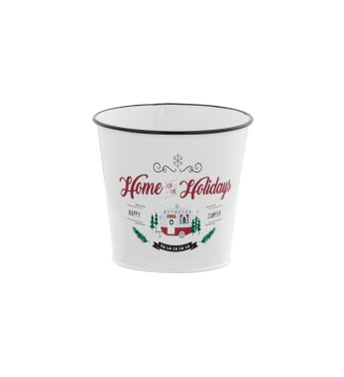 "5"" White 'Holidays' Pot Cover"