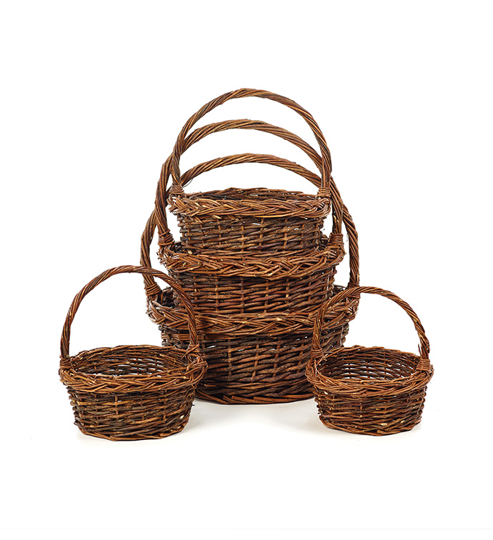 Round Unpeeled Willow Basket, S/5