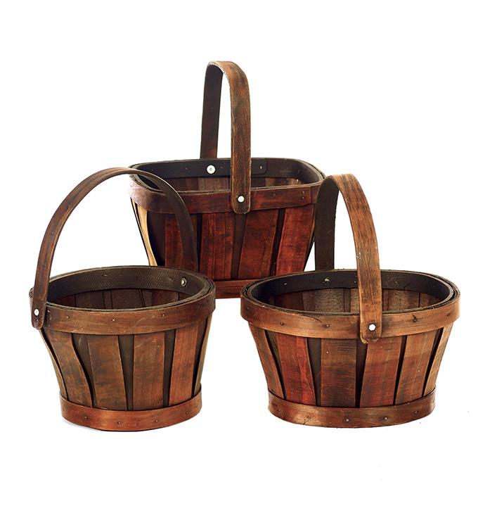 """6"""" Dark Stain Baskets, 3 Assorted"""