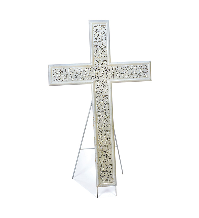 "43"" White Sympathy Cross w/Easel"