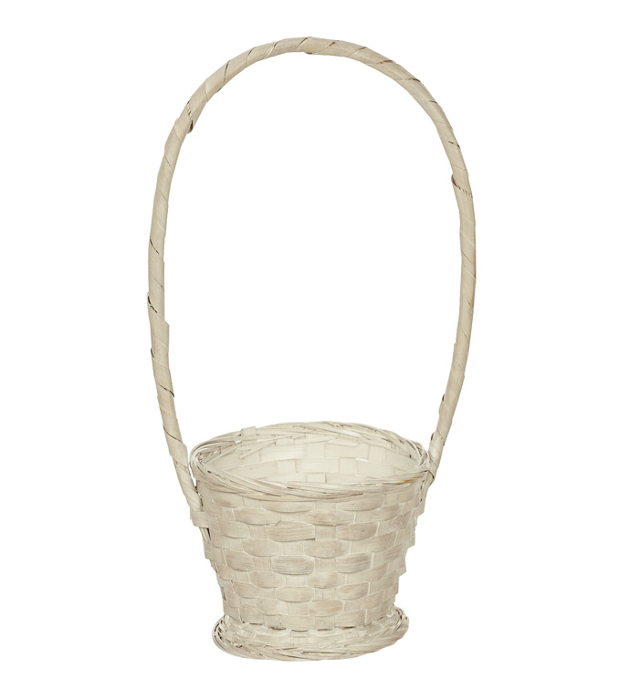 White Wash Handle Basket