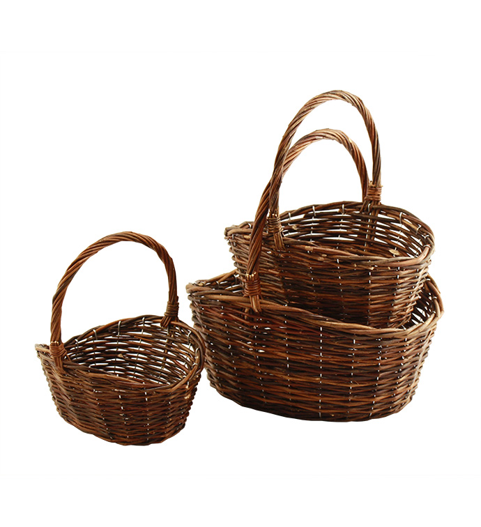 Set of 3 Round Handle Basket
