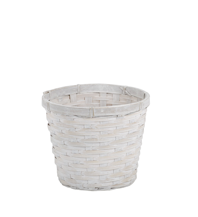 "6.5"" White Wash Pot Cover"