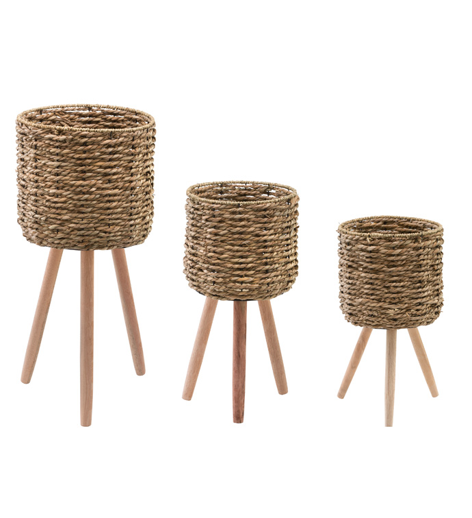 Seagrass Plant Stand, Set of 3