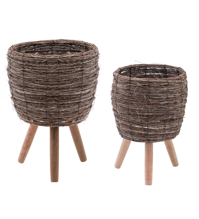 Woven Elm Plant Stand, Set of 2