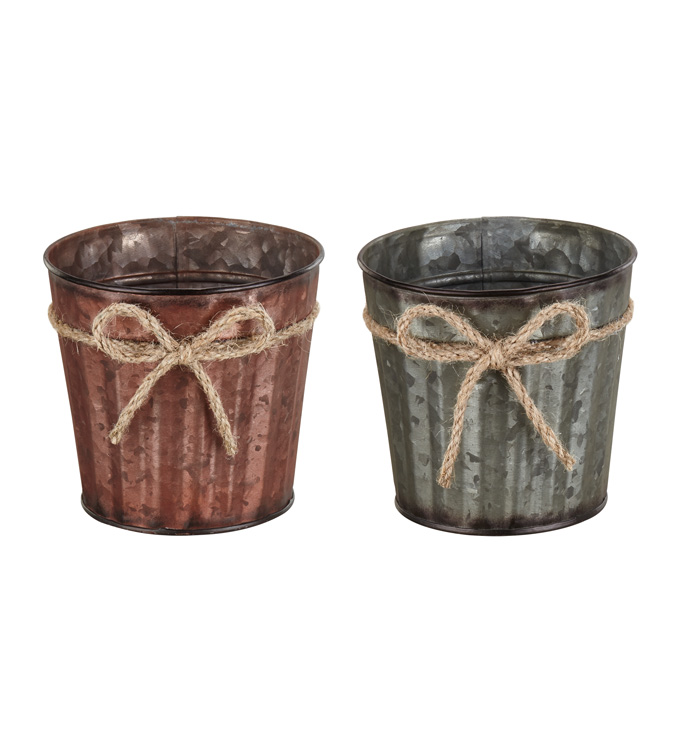 """5"""" Rope Bow Pot Cover, 2 Assorted"""