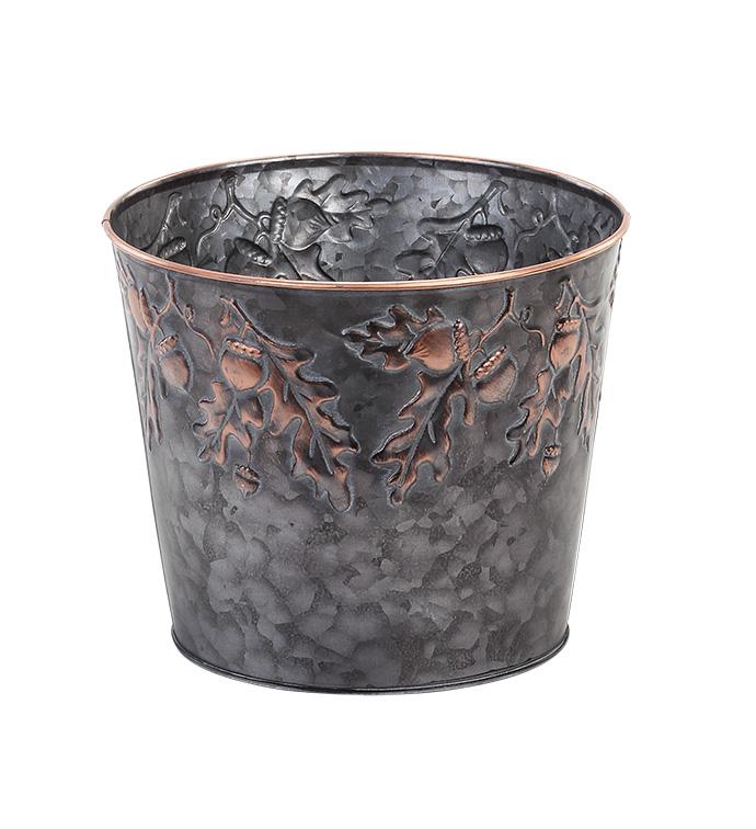 "6.5"" Embossed Acorn Pot Cover"