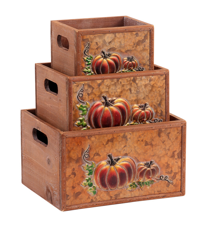 Embossed Pumpkin Box, Set of 3