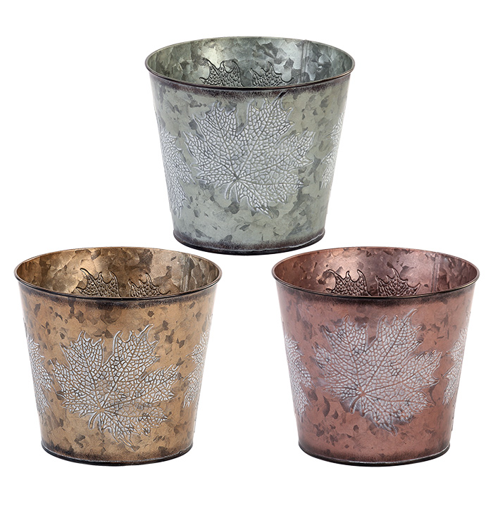"""6.5"""" Embossed Leaf Pot Cover, 3 Ass"""
