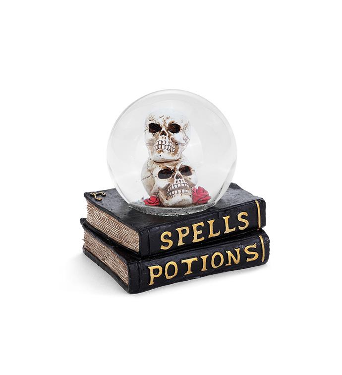 LED Skull Water Globe On Books