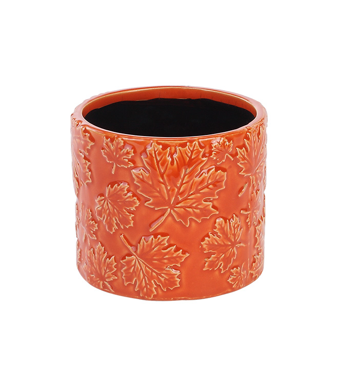 "4.5"" Maple Leaf Embossed Planter"