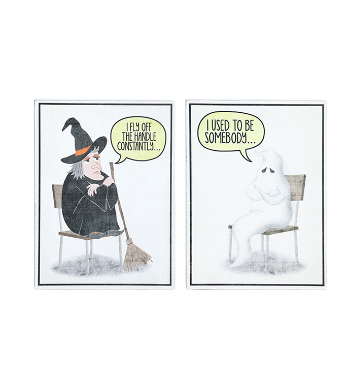 Funny Halloween Block Signs, 2 Asso