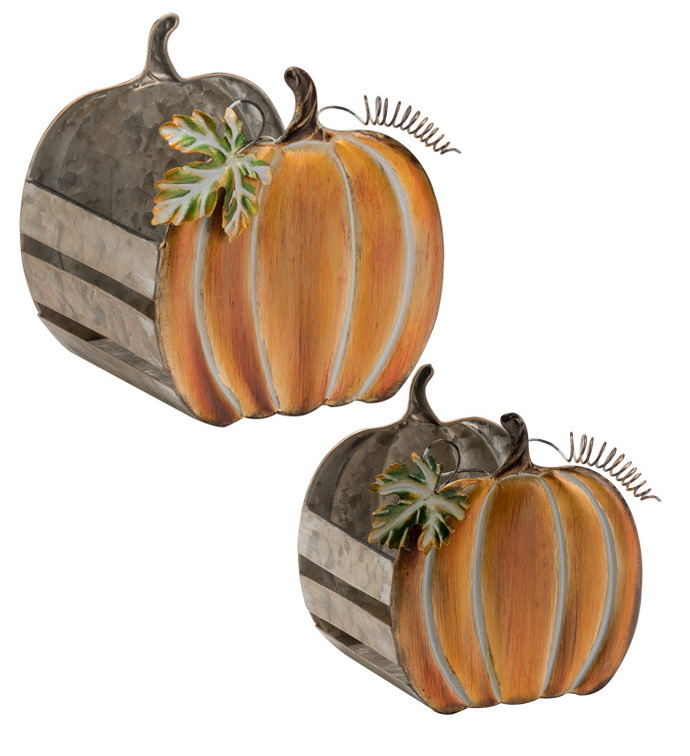 Pumpkin Shaped Planter, Set of 2
