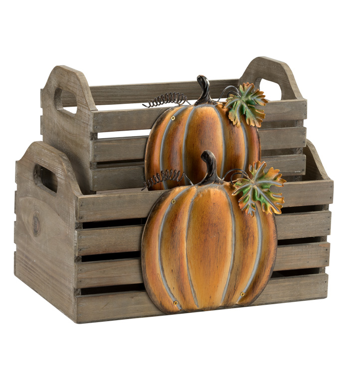 Pumpkin Planter Box, Set of 2