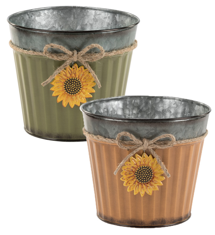 "6.5"" Sunflower Pot Cover, 2 Assorte"
