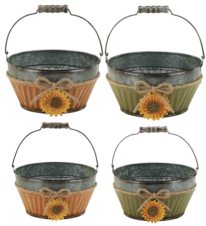 Set of 2 Sunflower Basket, 2 Assort