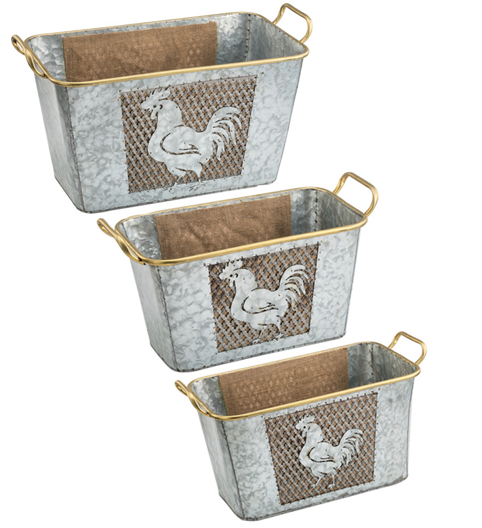 Metal Basket With Rooster, Set of 3