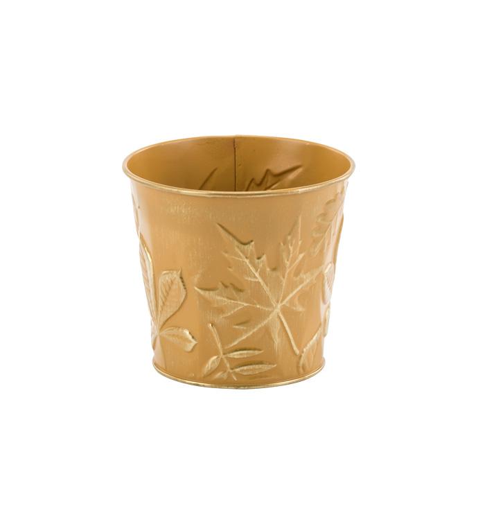 "5"" Ocher With Golden Leaves Pot Cov"