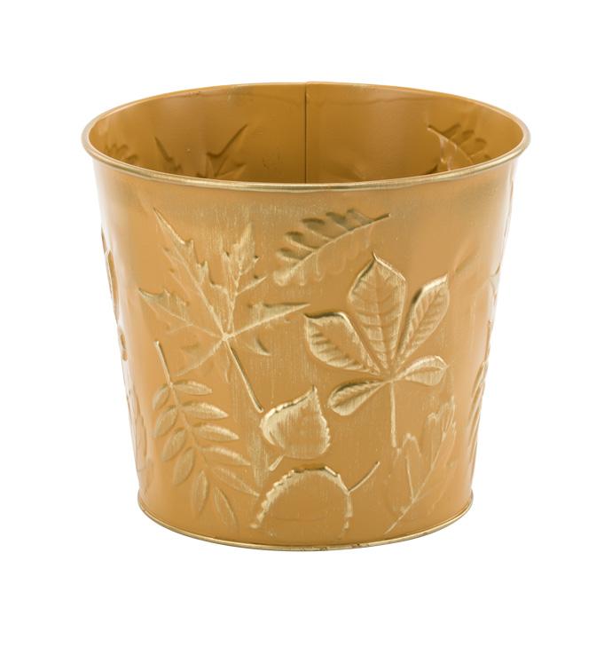 """6.5"""" Ocher/Gold Leaves Pot Cover"""