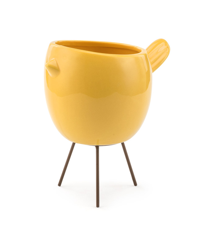 Yellow Chicken Planter with Legs
