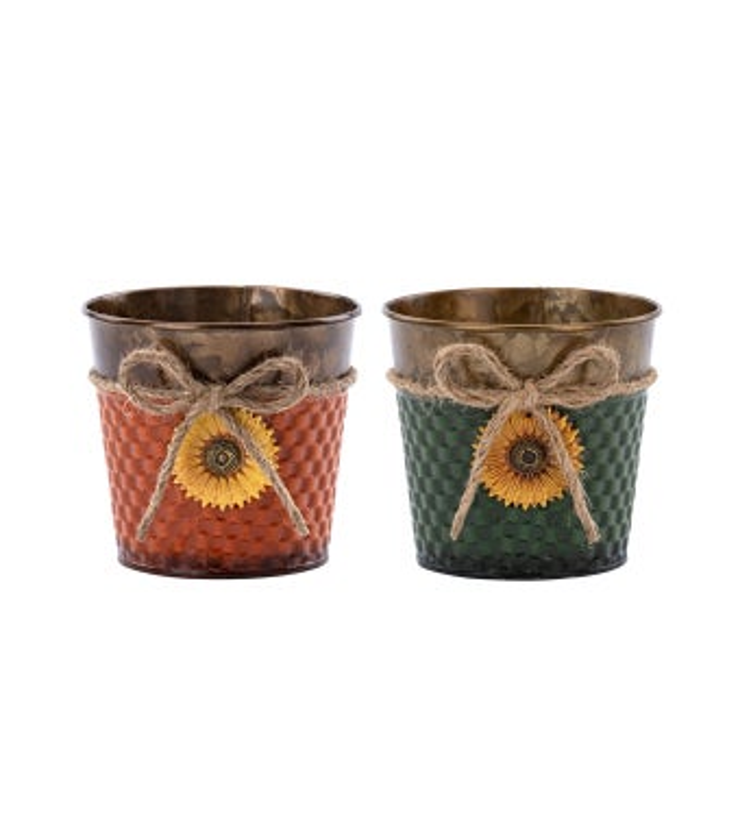 "5"" Sunflower Pot Cover, 2 Assorted"