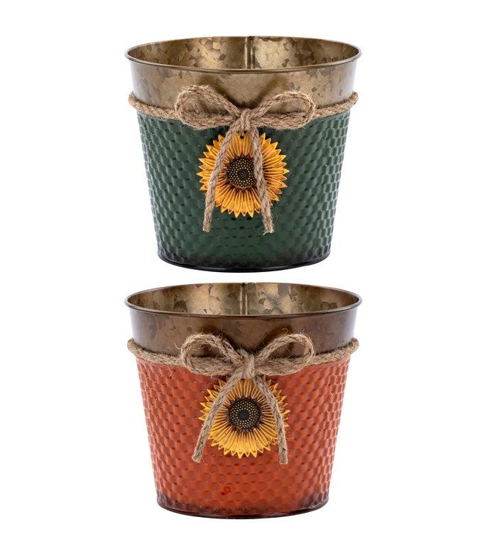 "6.5"" Sunflower Pot Cover, 2 Assorte"