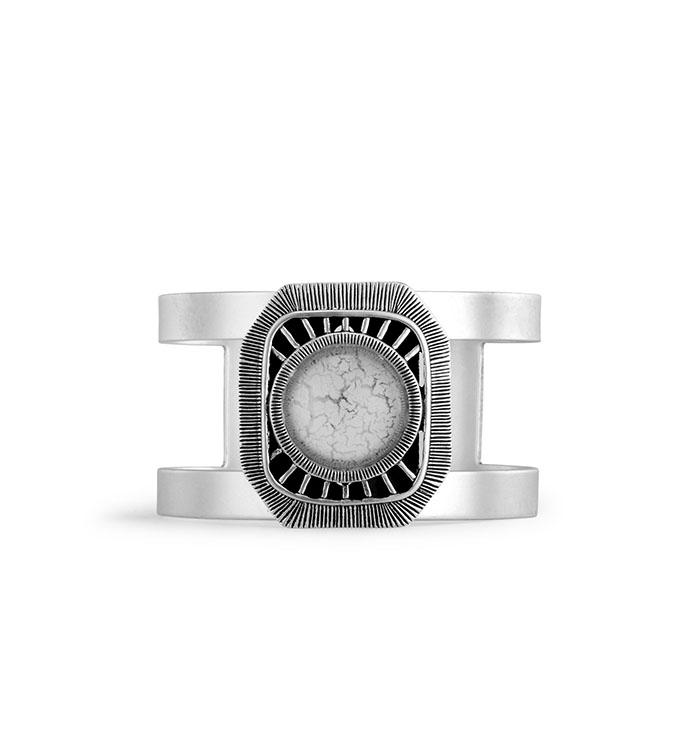 Matte Silver Cuff Bracelet w/Stones