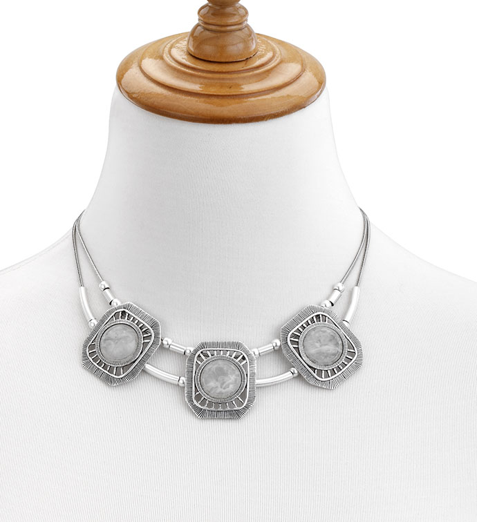Matte Necklace with White Stones