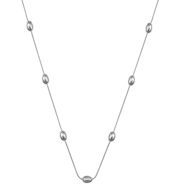 Silver Long Necklace with Small Ova