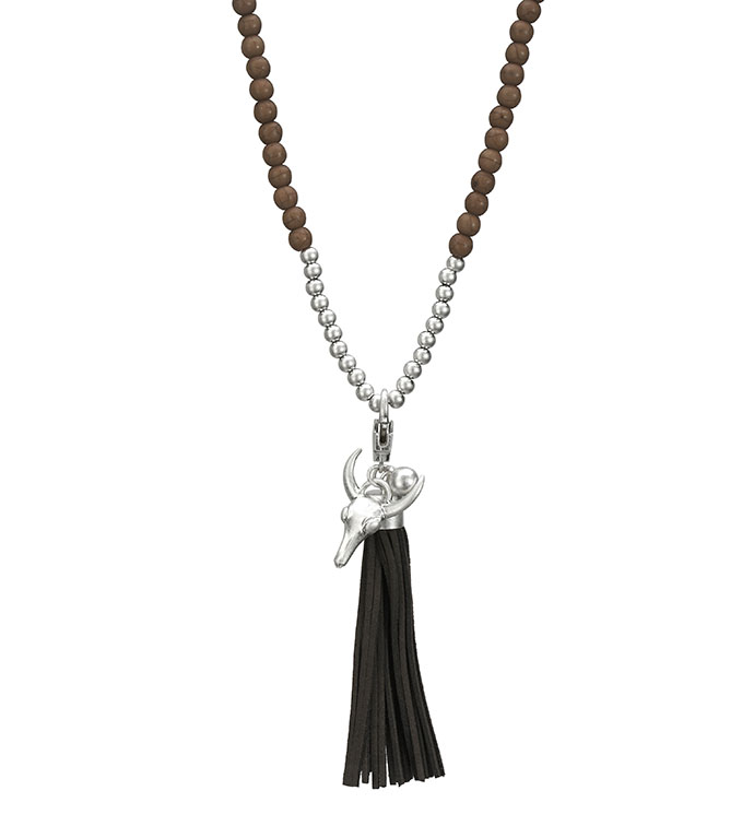 Brown Bead Necklace with Tassel