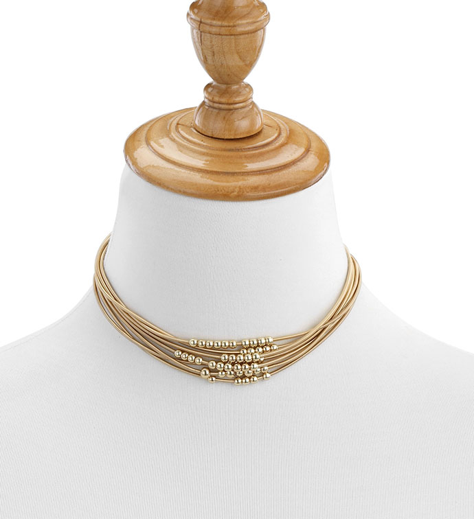Matte Gold Necklace with Beads