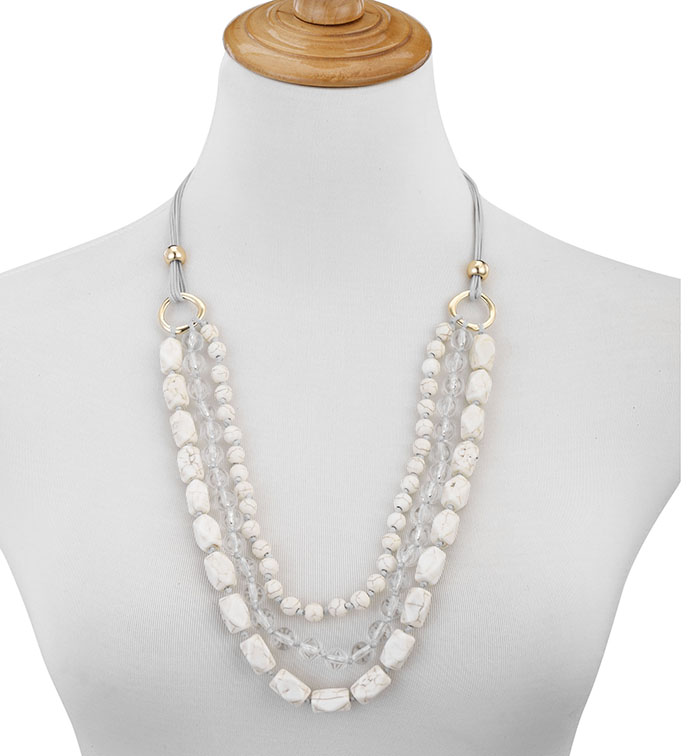 Layered Cream Bead Necklace x 3