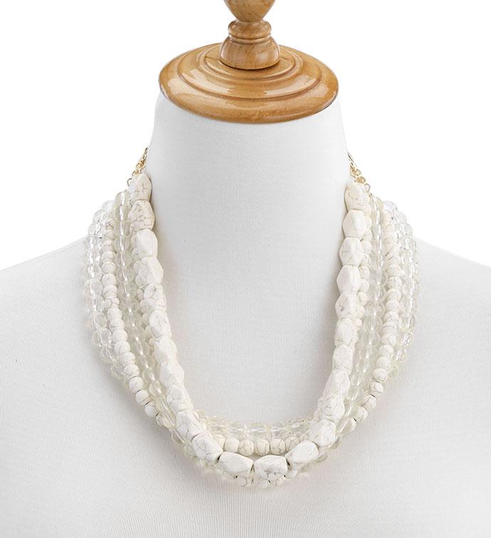 Layered Cream Bead Necklace x 5