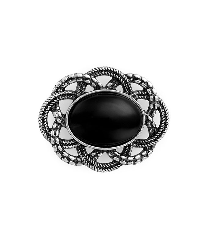 Antique Silver Oval Black Stone