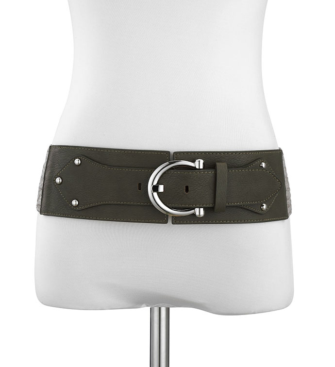 Olive Macrame Stretch Belt
