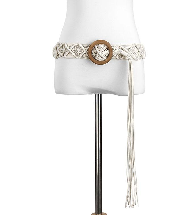 Cream Macrame Woven Belt with