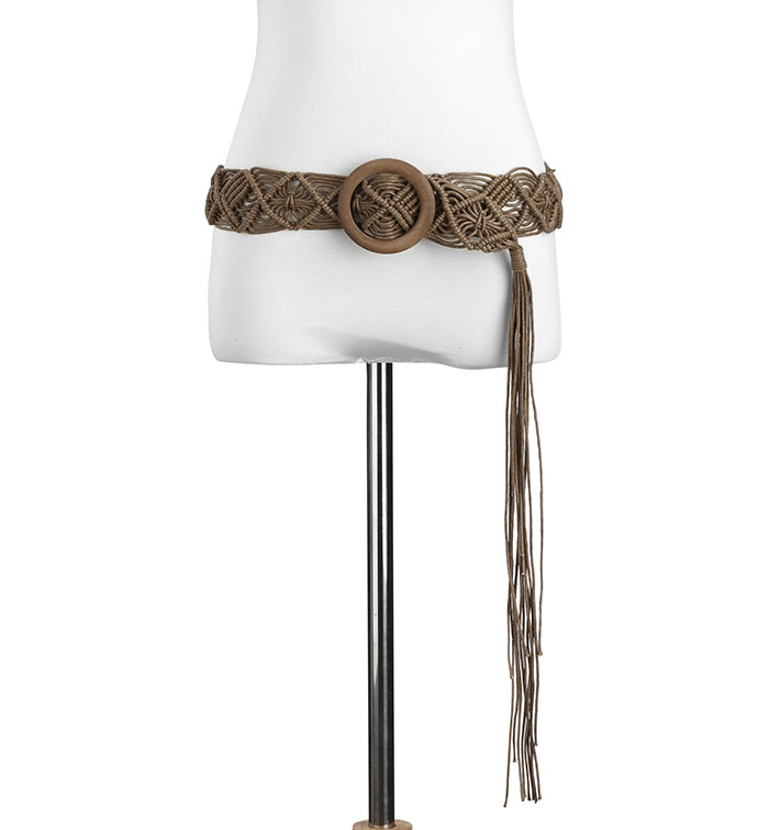 Brown Macrame Woven Belt with