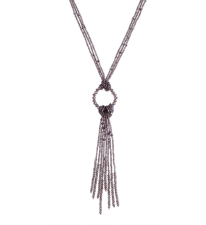 Knotted Tassel Purple Bead