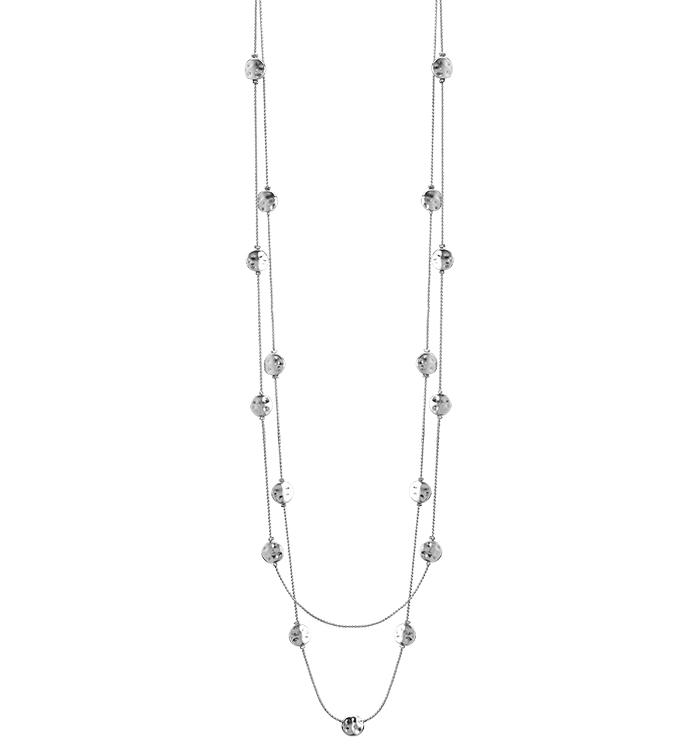 Silver Discs Double Necklace