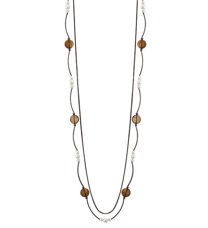 Chocolate Pearls Double Necklace