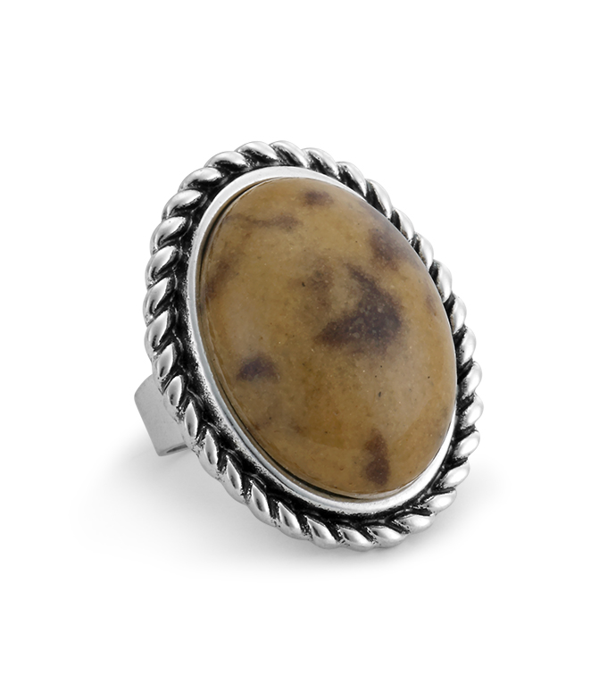 Amber Stone Adjustable Ring
