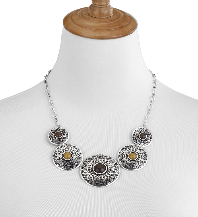 Etched Medallions Necklace