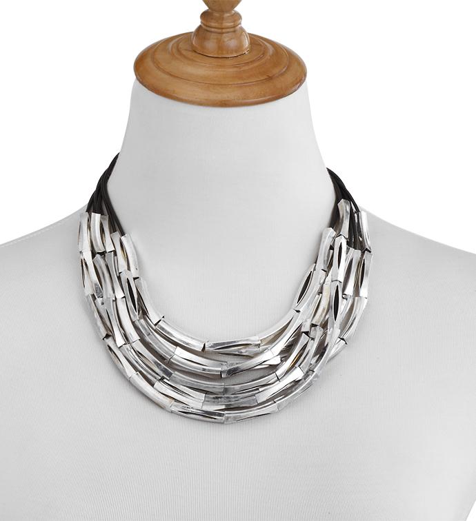 Silver Bars Black Cord Necklace