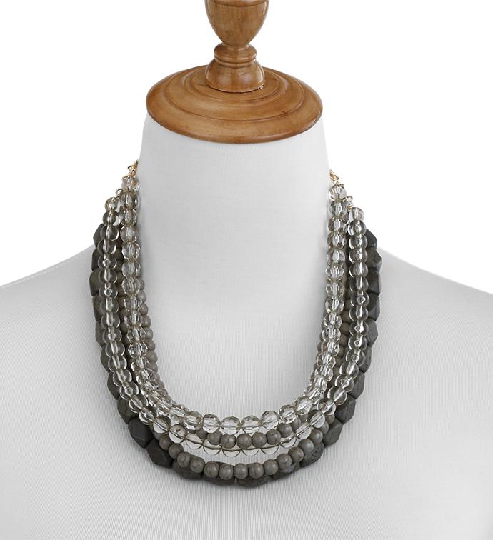 Slate Layered Bead Necklace x3