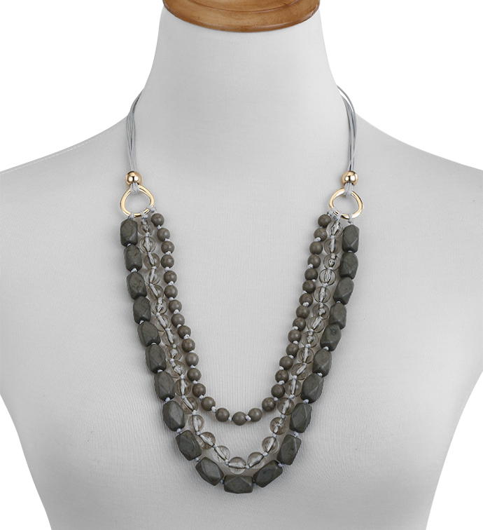 Slate Layered Bead Necklace x5