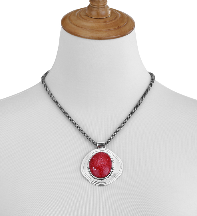 Red Stone Medallion Necklace