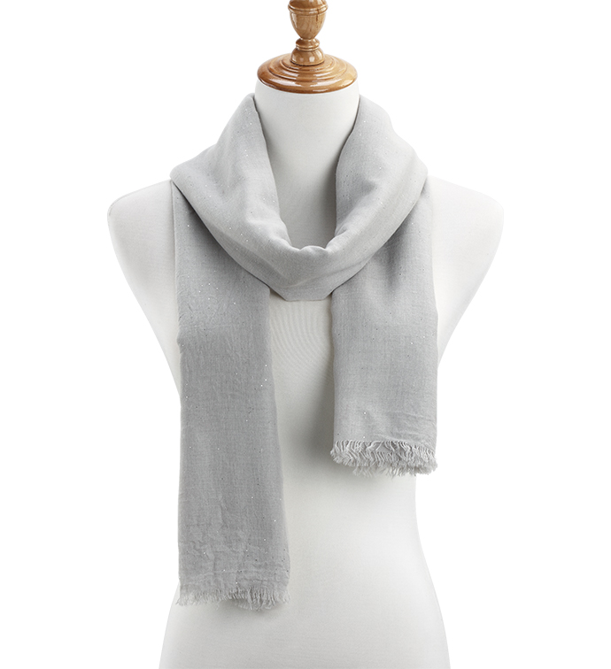 Grey Sheer Gauzy Sparkle Scarf