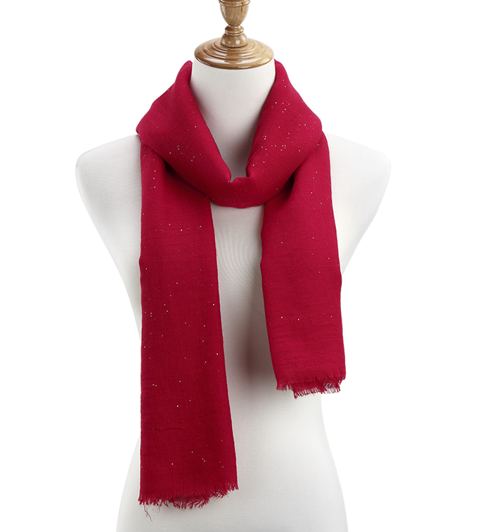 Red Sheer Gauzy Sparkle Scarf